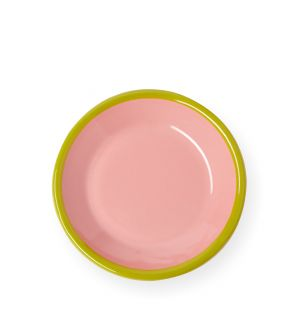 Petite assiette rose et vert chartreuse