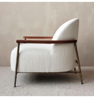 Lounge chair Sejour ivoire et laiton avec accoudoirs