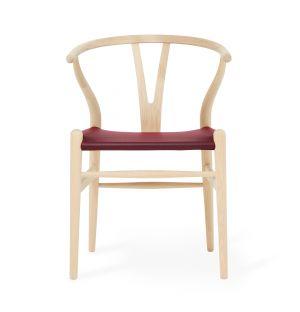 Chaise Wishbone CH24 exclusive en cuir rouge et chêne savonné