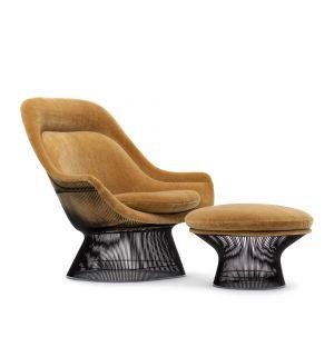 Lounge chair & repose-pied Platner en tissu Teddy et bronze métallisé