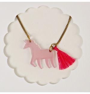Collier Licorne rose
