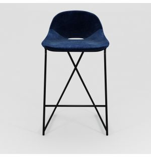 Chaise de bar Cross Leg - piétement noir - H 69 cm