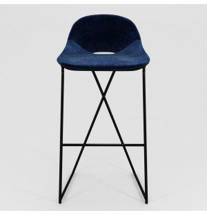 Chaise de bar Cross Leg - piétement noir - H 79 cm