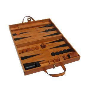 Backgammon en cuir finition naturelle