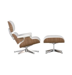 Lounge Chair & Ottoman - coque noyer - cuir blanc - nouvelles dimensions - Vitra