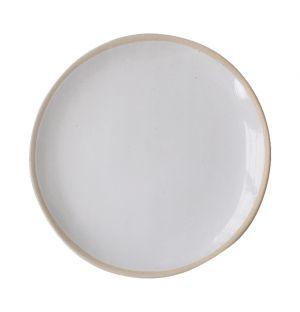 Plat rond présentation tarte Organic Sand blanc