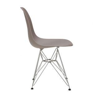 Chaise Eiffel DSR gris mauve - piètement chromé