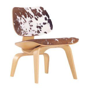 Chaise LCW en frêne et peau de vélin marron et blanche