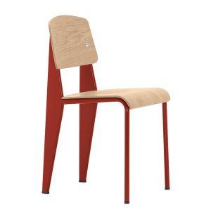 Chaise Standard chêne naturel & piétement rouge japonais - Vitra