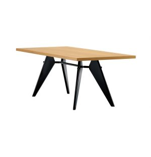 Table EM en placage chêne massif - piètement noir