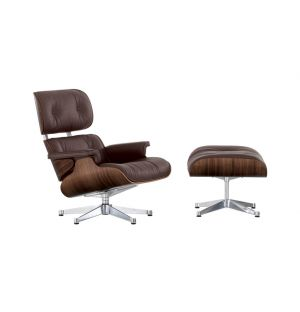 Lounge Chair & Ottoman coque noyer - cuir Premium chocolat - Vitra