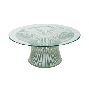 Table basse Platner - piètement nickel poli - Knoll