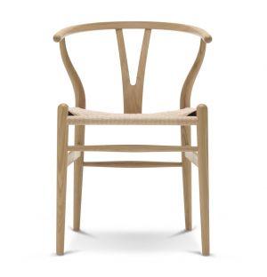 Chaise Wishbone CH24 chêne savonné et corde naturelle