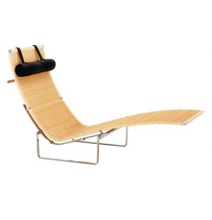 Chaise longue PK24 osier et repose-tête cuir - Fritz Hansen