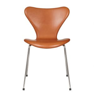 Chaise Série 7 - modèle 3107 en cuir Grace walnut - Fritz Hansen
