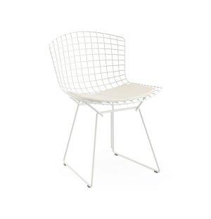 Chaise Bertoia Rilsan blanc avec galette d'assise en vinyle - Knoll
