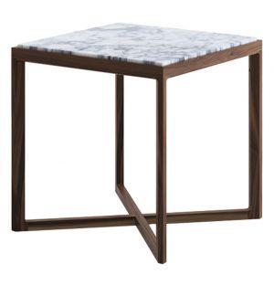 Table d'appoint chêne teinté noyer et marbre arabescato - Knoll