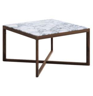 Table d'appoint carrée chêne teinté noyer et marbre arabescato - Knoll