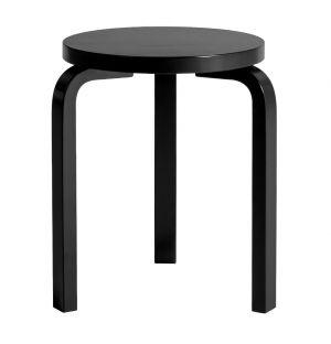 Tabouret Stool 60 bouleau teinté noir & assise laquée noire