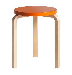Tabouret Stool 60 bouleau & assise laquée  orange