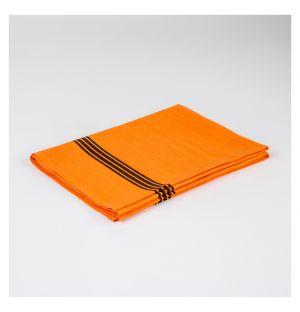 Torchon en lin orange rayé