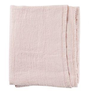 Serviette de bain en lin Nid d'abeille rose poudré