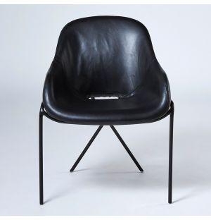 Chaise Cross Leg en cuir noir Stonewash - modèle d'exposition