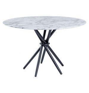 Table haute Stix en marbre Arabescato - base noire