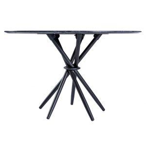 Table haute Stix en marbre Marquina - base noire