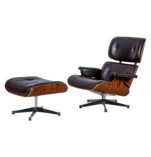 Lounge Chair & Ottoman coque palissandre - cuir Premium noir - nouvelles dimensions - Vitra