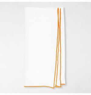 Serviette de table Linen blanche - bordure orange