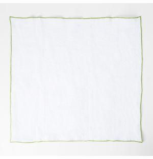 Serviette de table Linen blanche - bordure verte