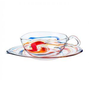 Tasse à thé & soucoupe multicolores en verre - Massimo Lunardon