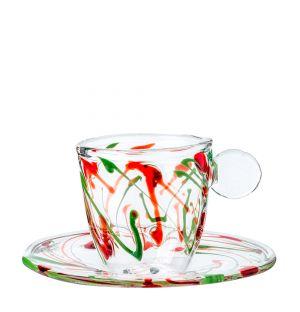 Tasse expresso & soucoupe multicolores en verre - Massimo Lunardon