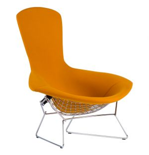 Fauteuil Bertoïa - structure chromée entièrement tapissé orange - Knoll