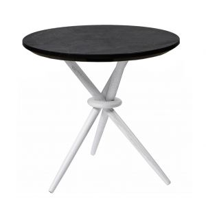 Stix Side Table Black Marquina Marble & White
