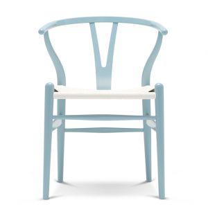 Chaise Wishbone CH24 en hêtre bleu clair et assise en corde blanche
