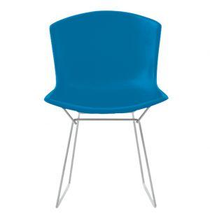 Chaise Bertoia Plastic Side Chair bleu - piétement chromé