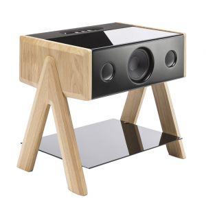Enceinte Cube sans fil - pieds chêne