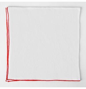 Serviette de table en lin blanc à bords rouges