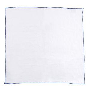 Serviette de table en lin à bord contrastant Blanc / Cobalt
