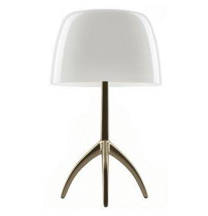 Lampe de table Lumière Grande avec variateur blanc & champagne