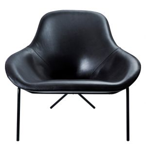 Fauteuil Cross Leg en cuir noir Stonewash - piétement noir