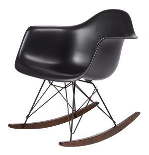 Chaise à bascule RAR noire - piètement noir et érable