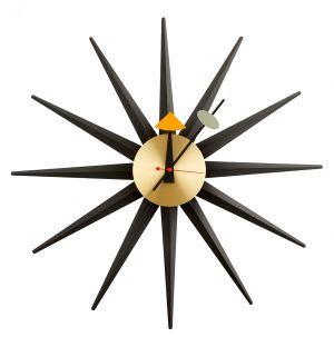 Horloge Sunburst Noire et Laiton
