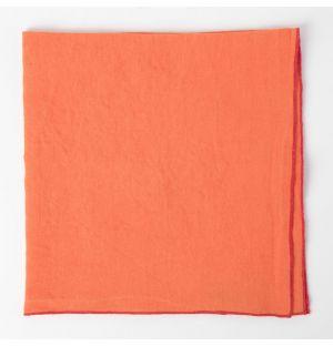 Serviette en lin orange et rose bubblegum