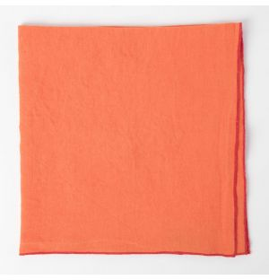 Serviette en lin orange et rose