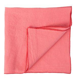 Serviette en lin rose et rouge