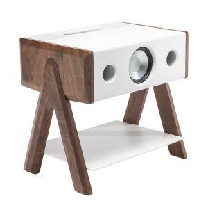 Enceinte Cube Corian Series sans fil - pieds noyer