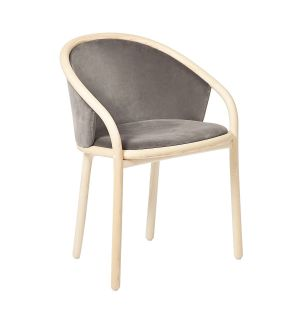Chaise Latis en frêne naturel et velours Duro